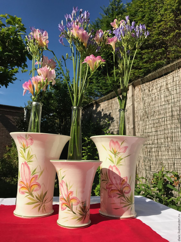 vintage porcelain vases of 3 vases set in the freesia porcelain italy shop online on inside vintage interior decor livemaster handmade buy 3 vases set in the freesia