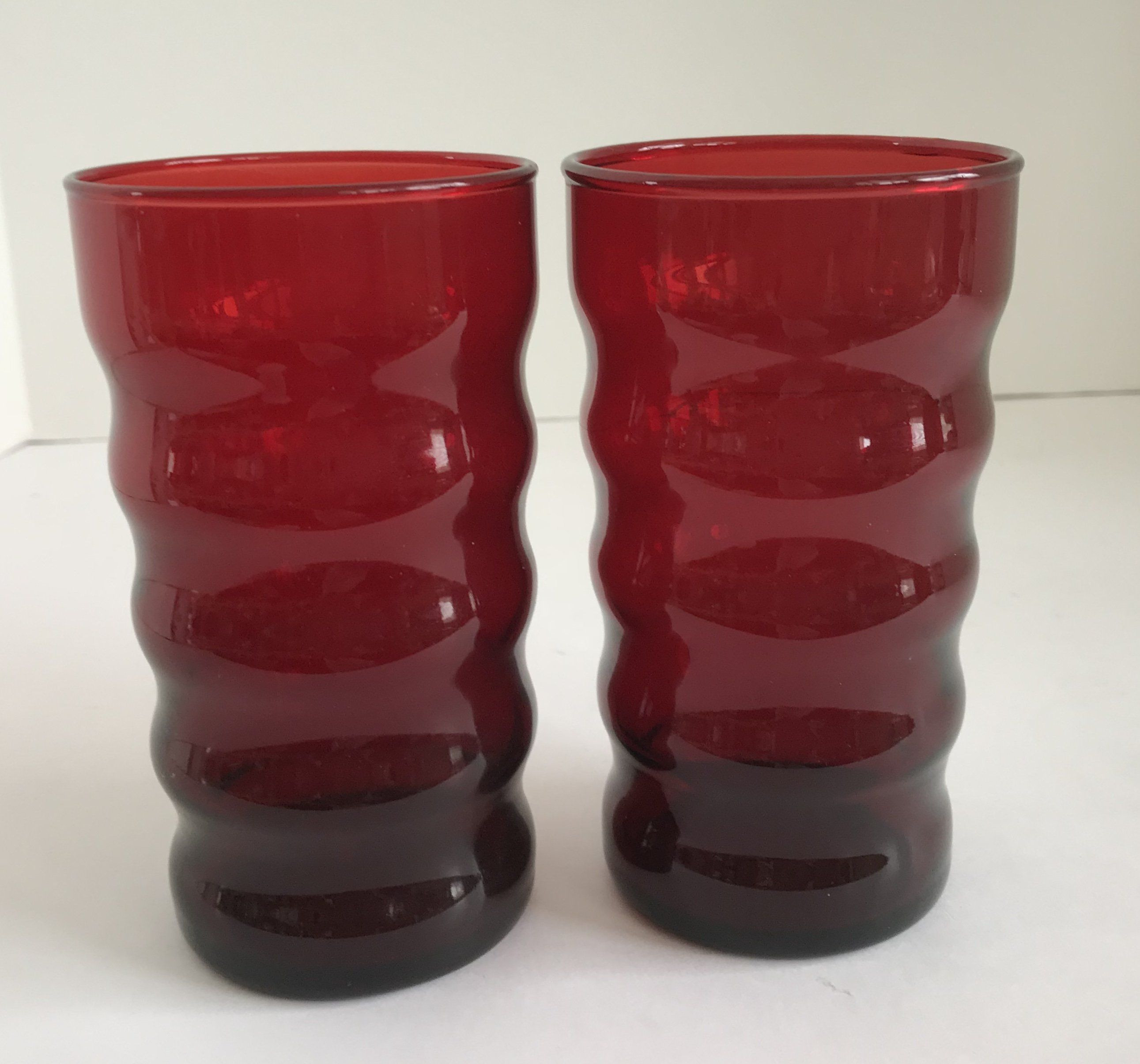 vintage red glass bud vase of vintage set of 2 mid century anchor hocking royal ruby red ribbed throughout vintage set of 2 mid century anchor hocking royal ruby red ribbed drinking glasses
