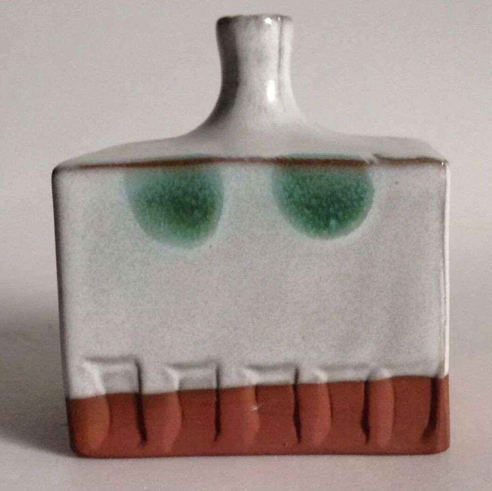 vintage red wing pottery vases of redware pottery bud vase cuboid stamped design white glaze green with redware pottery bud vase cuboid stamped design white glaze green polka dots 3