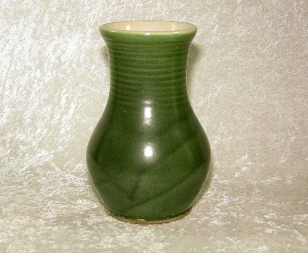 vintage small green glass vase of rare antique handturned arts crafts uhl pottery green 8 vase within rare antique handturned arts crafts uhl pottery green 8 vase huntingburg