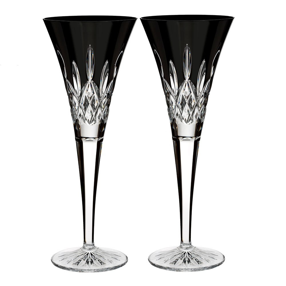 waterford balmoral vase of waterford crystal lismore black tie flute pair waterforda crystal in lismore black flute pair
