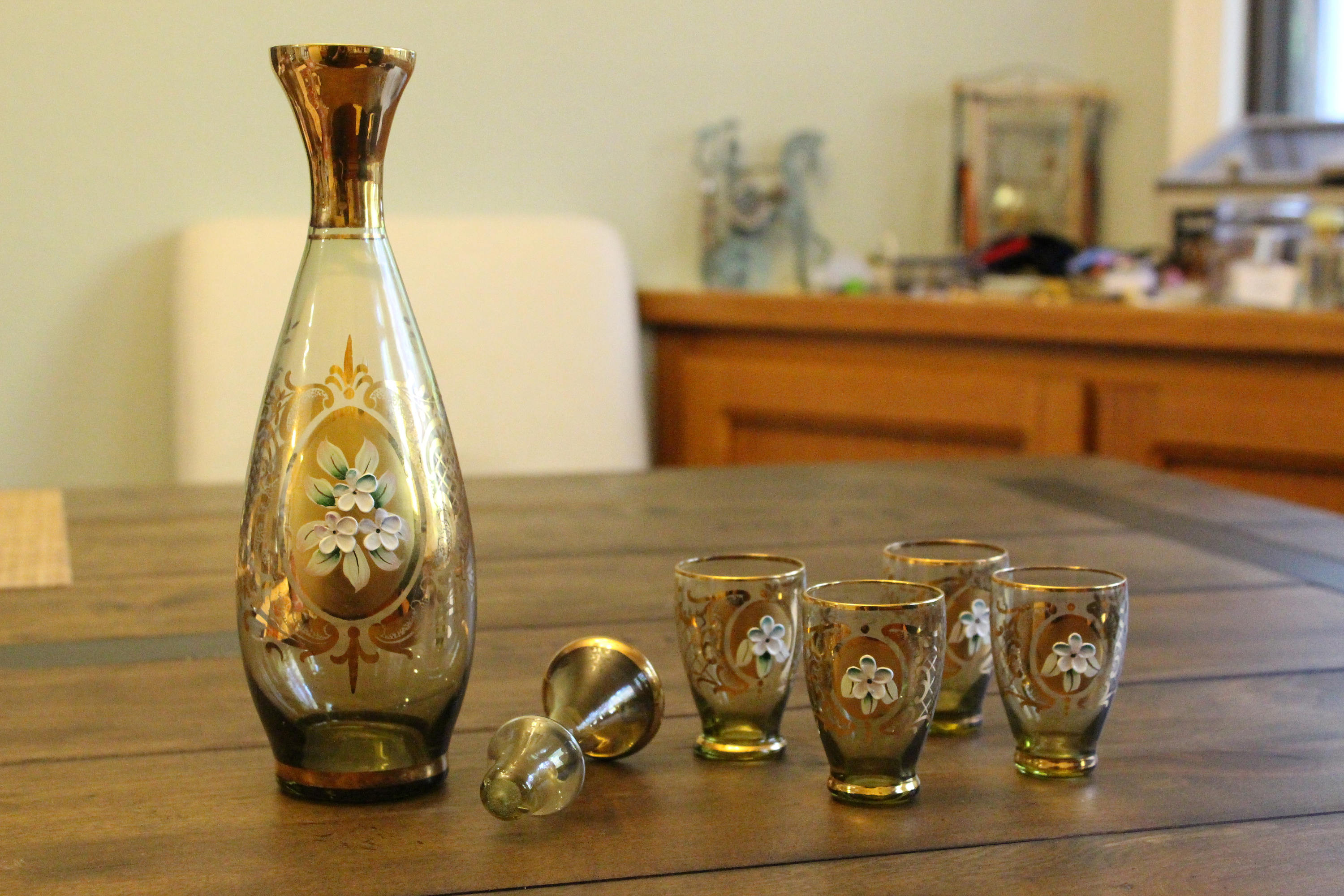 "waterford blue crystal vase of vintage 60s amber liqueur cordial decanter set of 4 bohemian for dŸ""Žzoom"