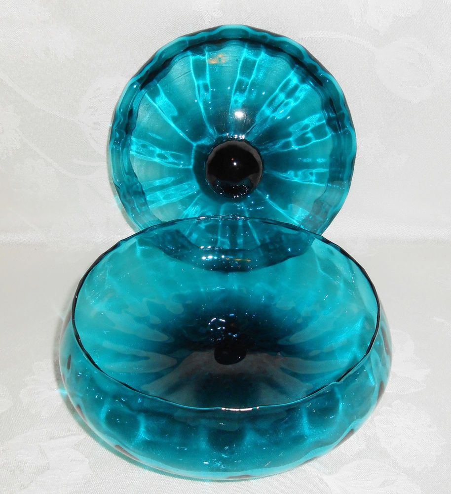 waterford blue vase of empoli teal blue optic glass covered candy bowl jar 1960s mid regarding empoli teal blue optic glass covered candy bowl jar 1960s mid century italian