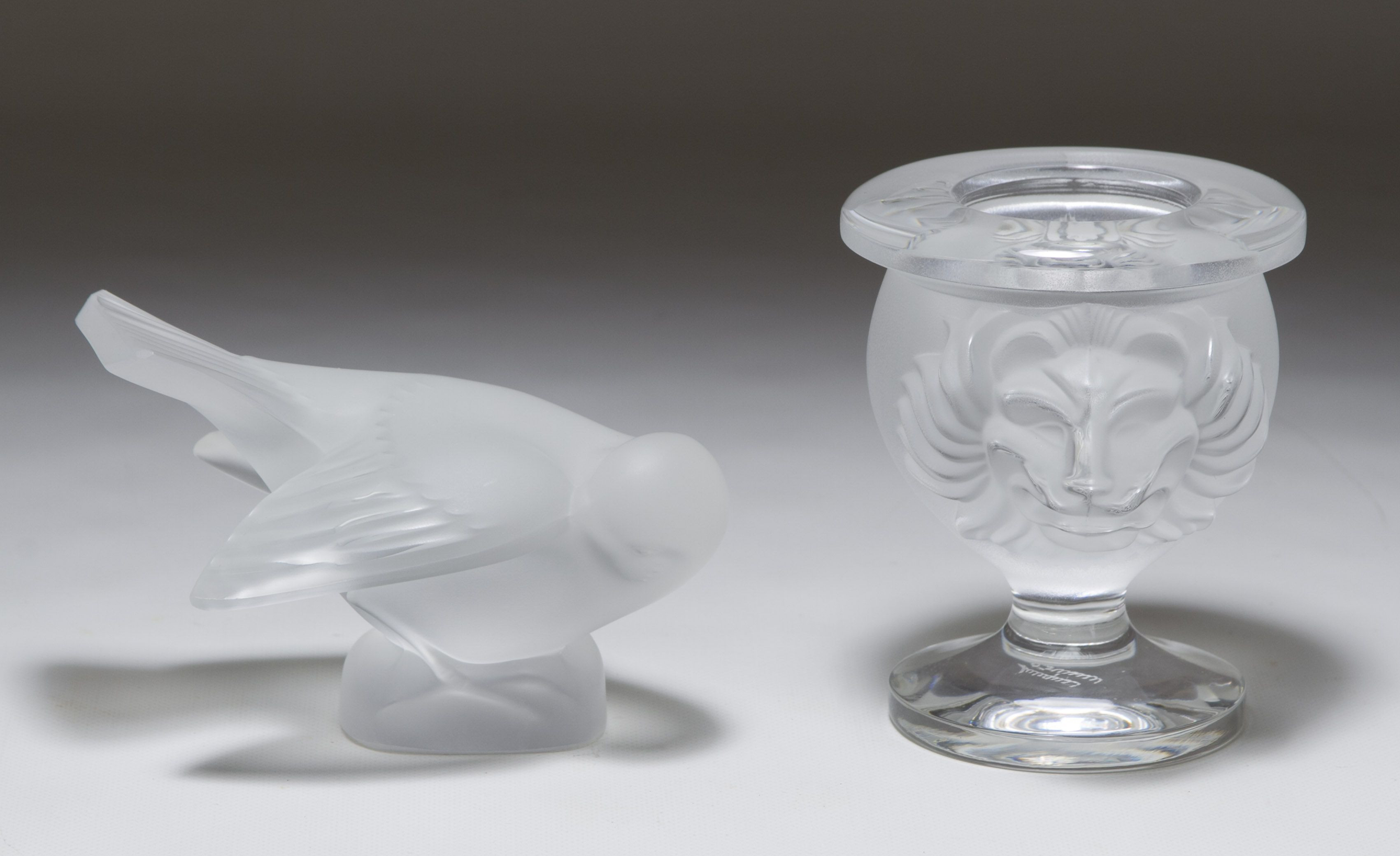 waterford crystal vase small of lot 350 lalique crystal vase and bird figurine two items including in lot 350 lalique crystal vase and bird figurine two items including a small vase with lion heads and a bird figurine both having etched marks lalique