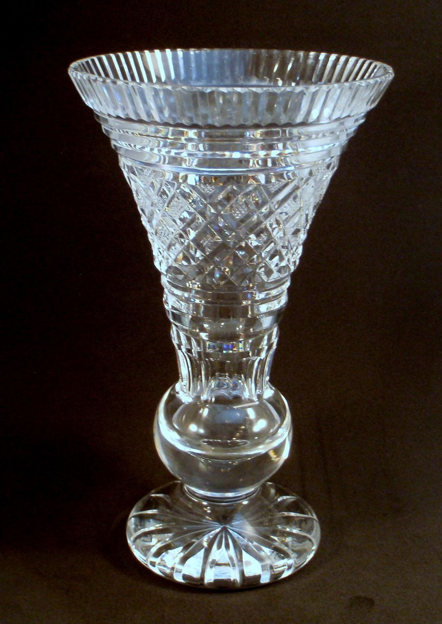 Waterford Lismore Castle Vase Of Waterford Crystal Signed Trumpet Vase Waterford Crystal Pertaining to Waterford Crystal Signed Trumpet Vase
