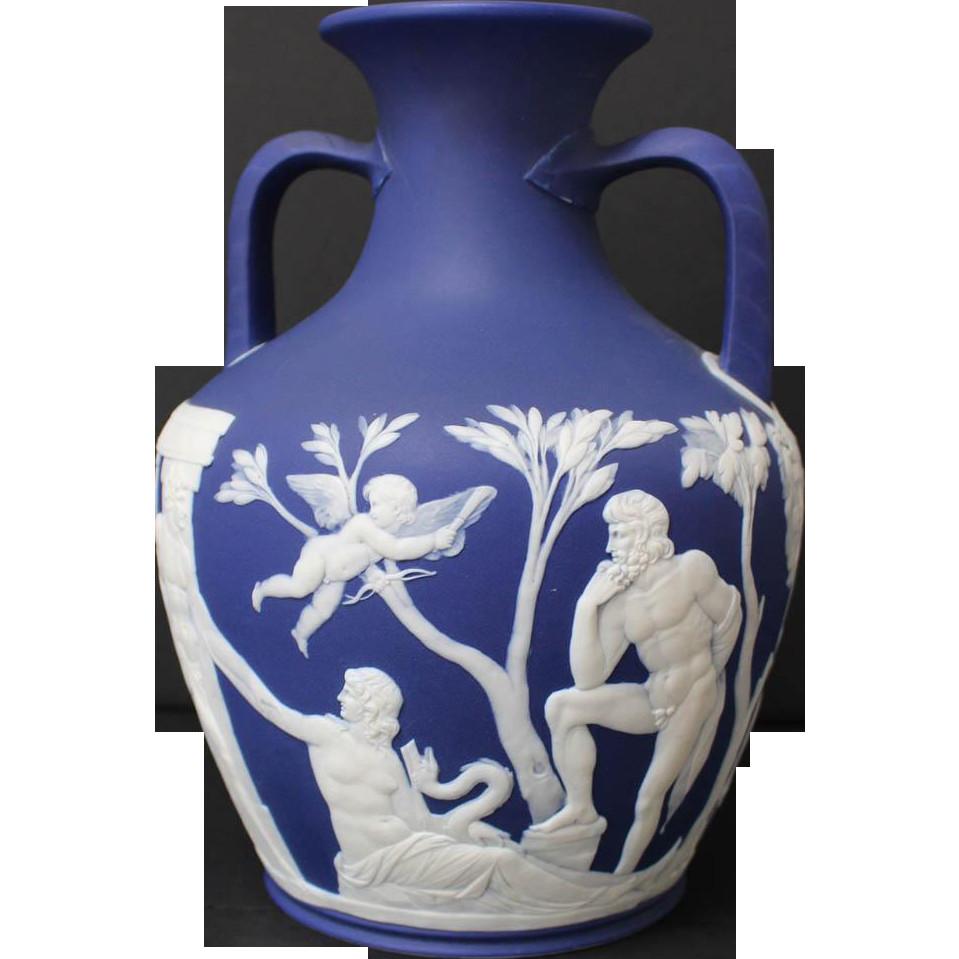 wedgwood jasperware portland vase of 19th century wedgwood jasperware dark blue double handled portland in 19th century wedgwood jasperware dark blue double handled portland vase