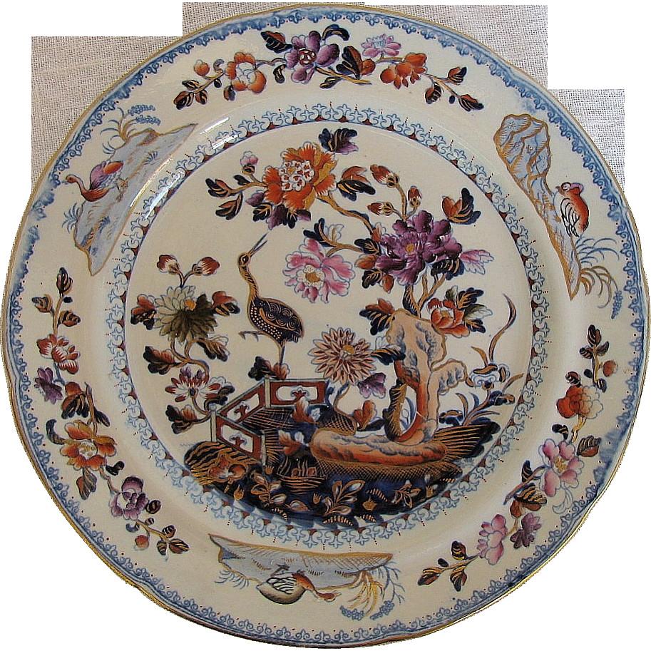 wedgwood kutani crane bud vase of davenport stone china plate chinoiserie stork antique early 19th c with davenport stone china plate chinoiserie stork pattern antique c 1815