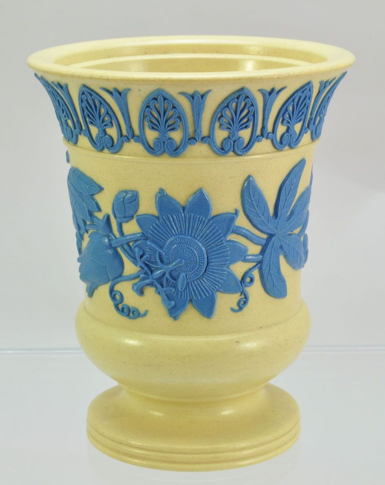 wedgwood vase blue and white of antique wedgwood caneware and blue passionflower bough vase 19th inside fine antique 19th century caneware dry body bough flared vase with blue jasper decoration in