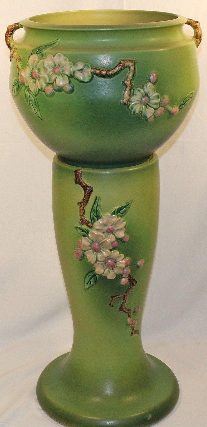 weller vase value of 254 best roseville pottery images on pinterest antique pottery with roseville pottery apple blossom green jardiniere and pedestal
