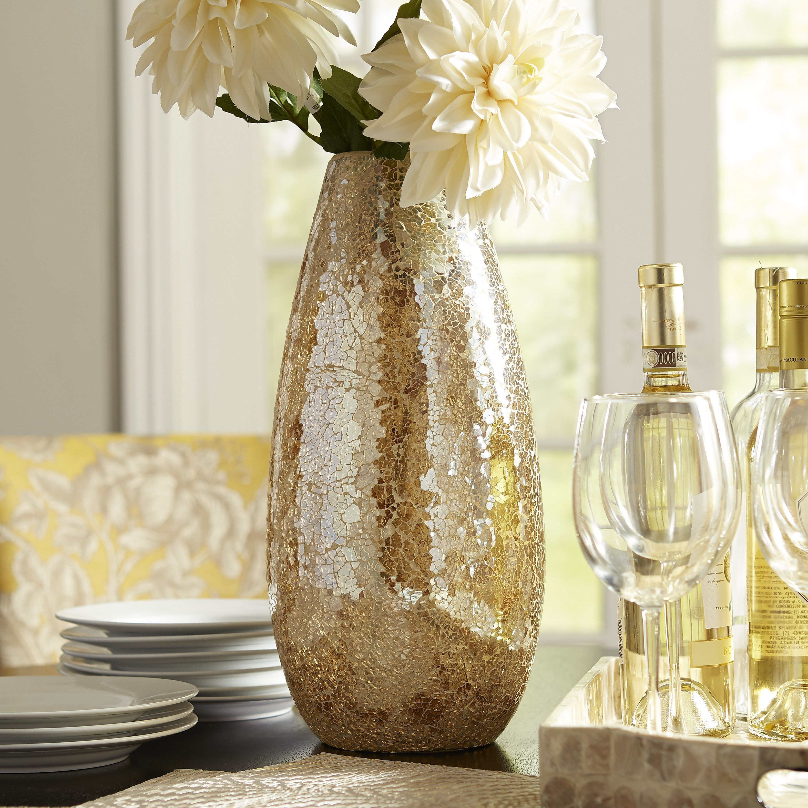 West Elm Faceted Glass Vases Of Gold Luster Mosaic Glass Vase Products Pinterest Glass Vase Inside Gold Luster Mosaic Glass Vase
