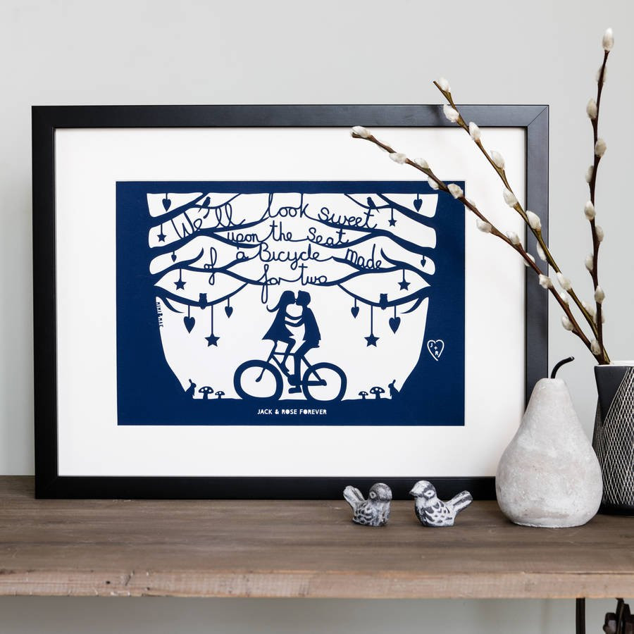 west germany vase of romantic bicycle papercut or print in mount by mimi mae for romantic bicycle papercut or print in mount