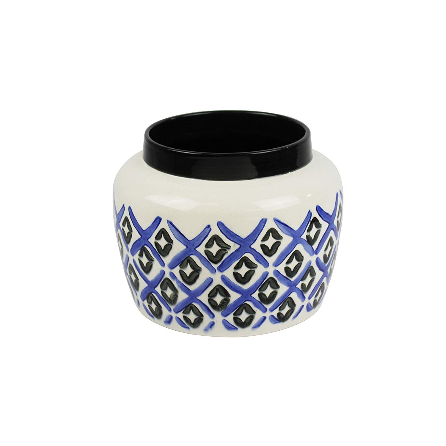 white and gold ceramic vase of amazon com sagebrook home 12686 01 ceramic pot 9 x 9 x 7 inches with regard to amazon com sagebrook home 12686 01 ceramic pot 9 x 9 x 7 inches white blue home kitchen