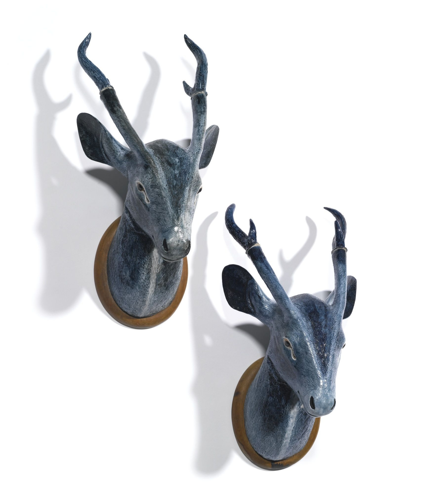 white ceramic deer head vase of a rare pair of chinese export porcelain wall trophies modelled as inside a rare pair of chinese export porcelain wall trophies modelled as stags heads