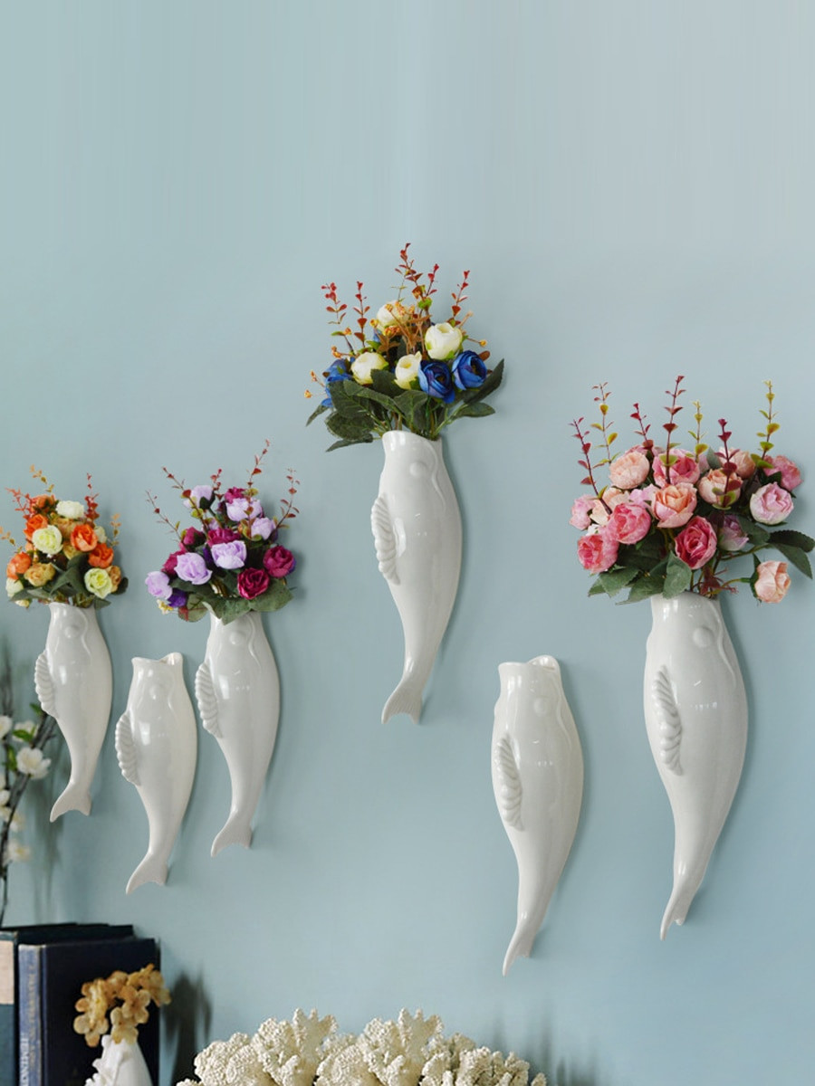 white ceramic fish vase of buy 1pc plant mural creative ceramic fish shaped vase and flower throughout buy 1pc plant mural creative ceramic fish shaped vase and flower wall decor wall art at jolly chic