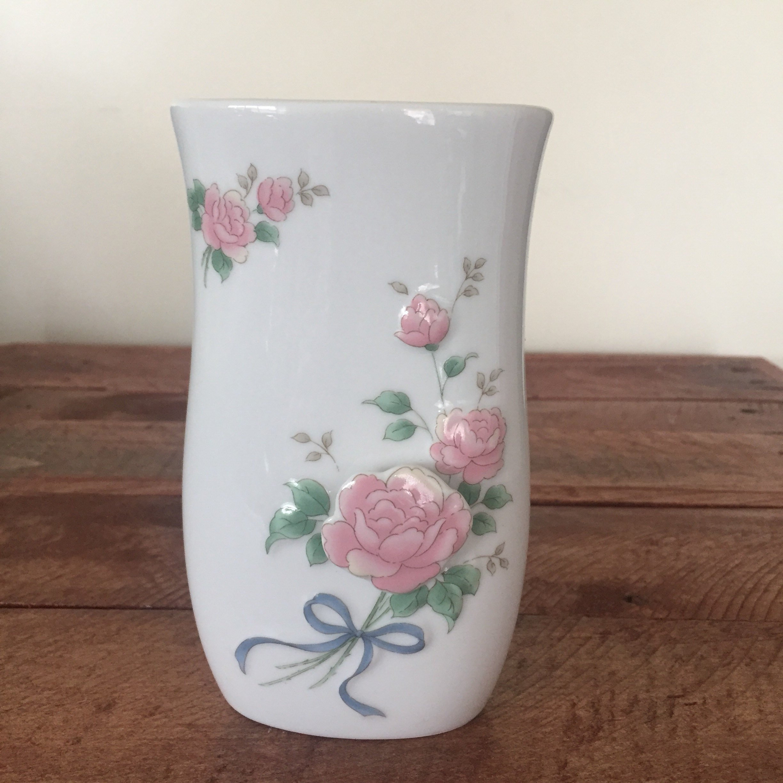 white ceramic jug vase of vintage floral vase with pink flowers green leaves and blue etsy in dc29fc294c28ezoom