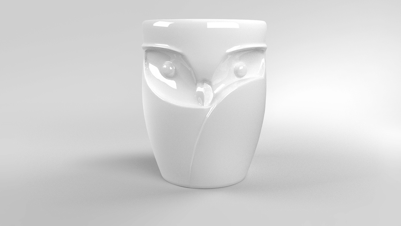 white ceramic owl vase of fukuro owl shaped cup for mazda on behance for 3d printed prototype was moulded and casted in ceramics covered by white glaze