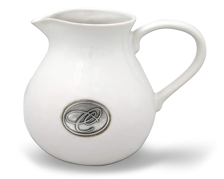 white ceramic pitcher vase of amazon com vagabond house script h pewter monogram stoneware with amazon com vagabond house script h pewter monogram stoneware pitcher carafes pitchers