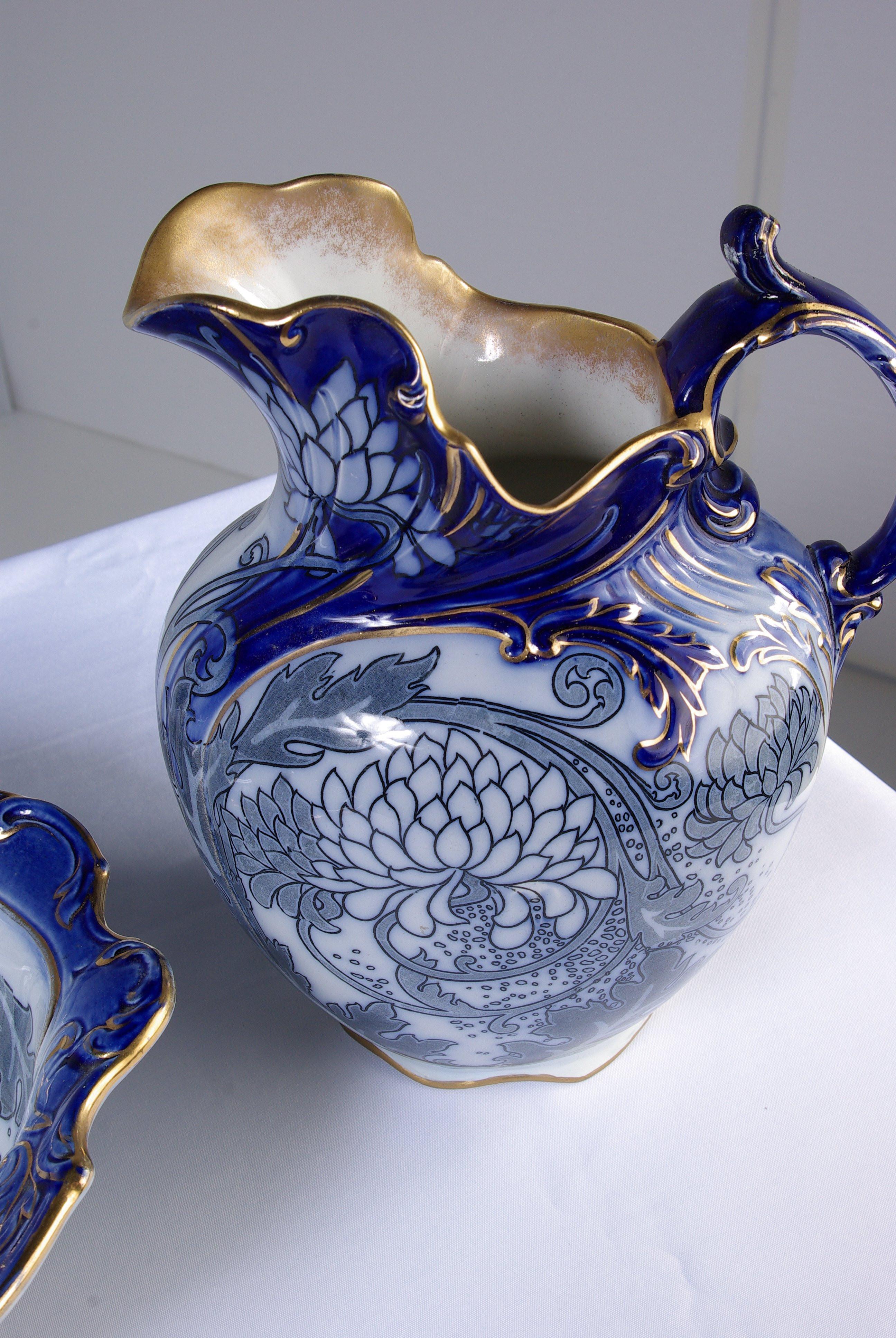 white ceramic pitcher vase of antique four piece royal doulton floral blue pitcher wash basin throughout antique four piece royal doulton floral blue pitcher wash basin jug and mug at 1stdibs