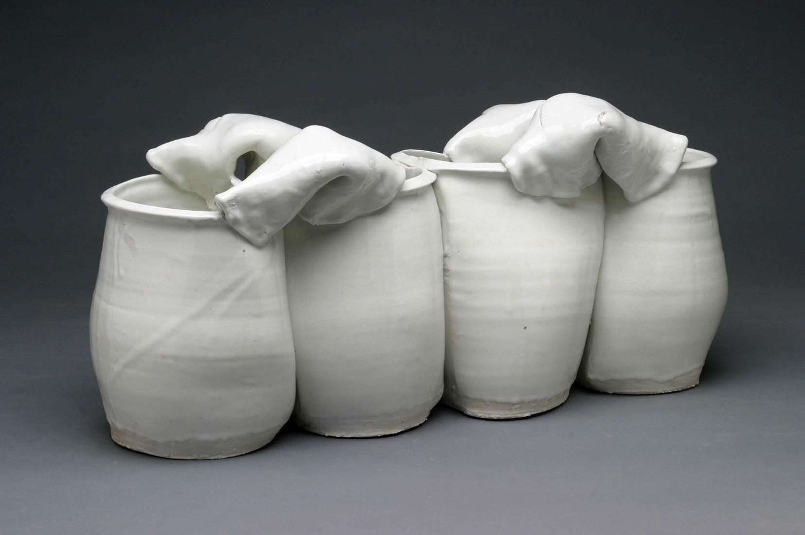 white ceramic round vase of david kordansky gallery for joined vases 1972 porcelain 10 x 23 x 11 1 2 inches 25 4 x 58 4 x 29 2 cm