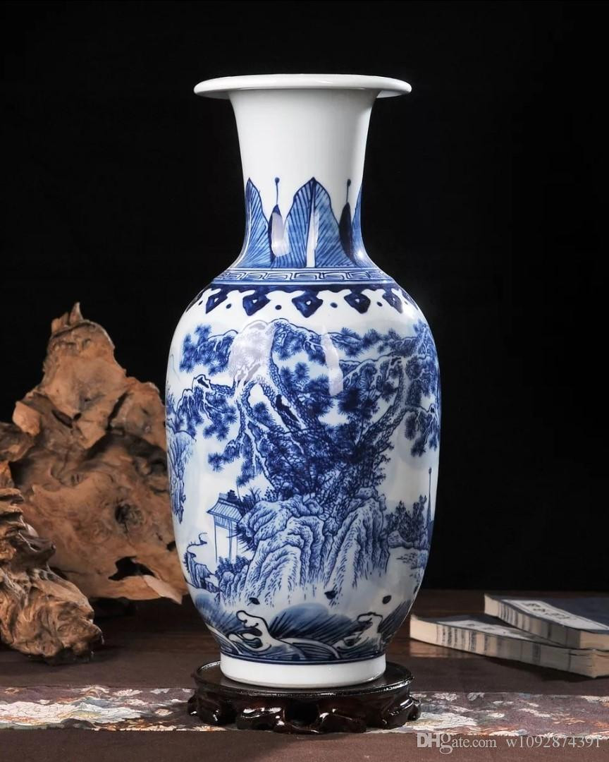 White Ceramic Urn Vase Of 2018 Ceramic Vase Hand Painted Blue and White Porcelain Home with Ceramic Vase Hand Painted Blue and White Porcelain Home Decoration Living Room Antique China Decorative