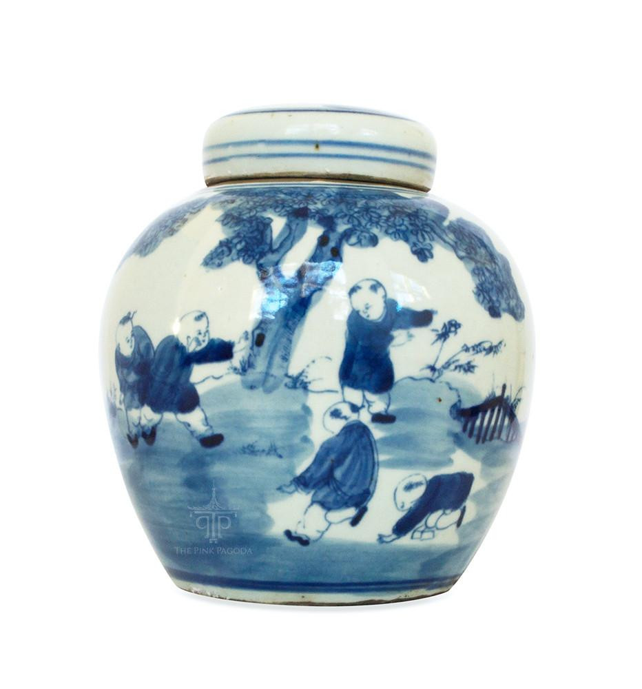 white ceramic urn vase of blue and white chinese melon jar with five boys playing the pink regarding small blue and white chinese melon jar with five boys playing ceramic od