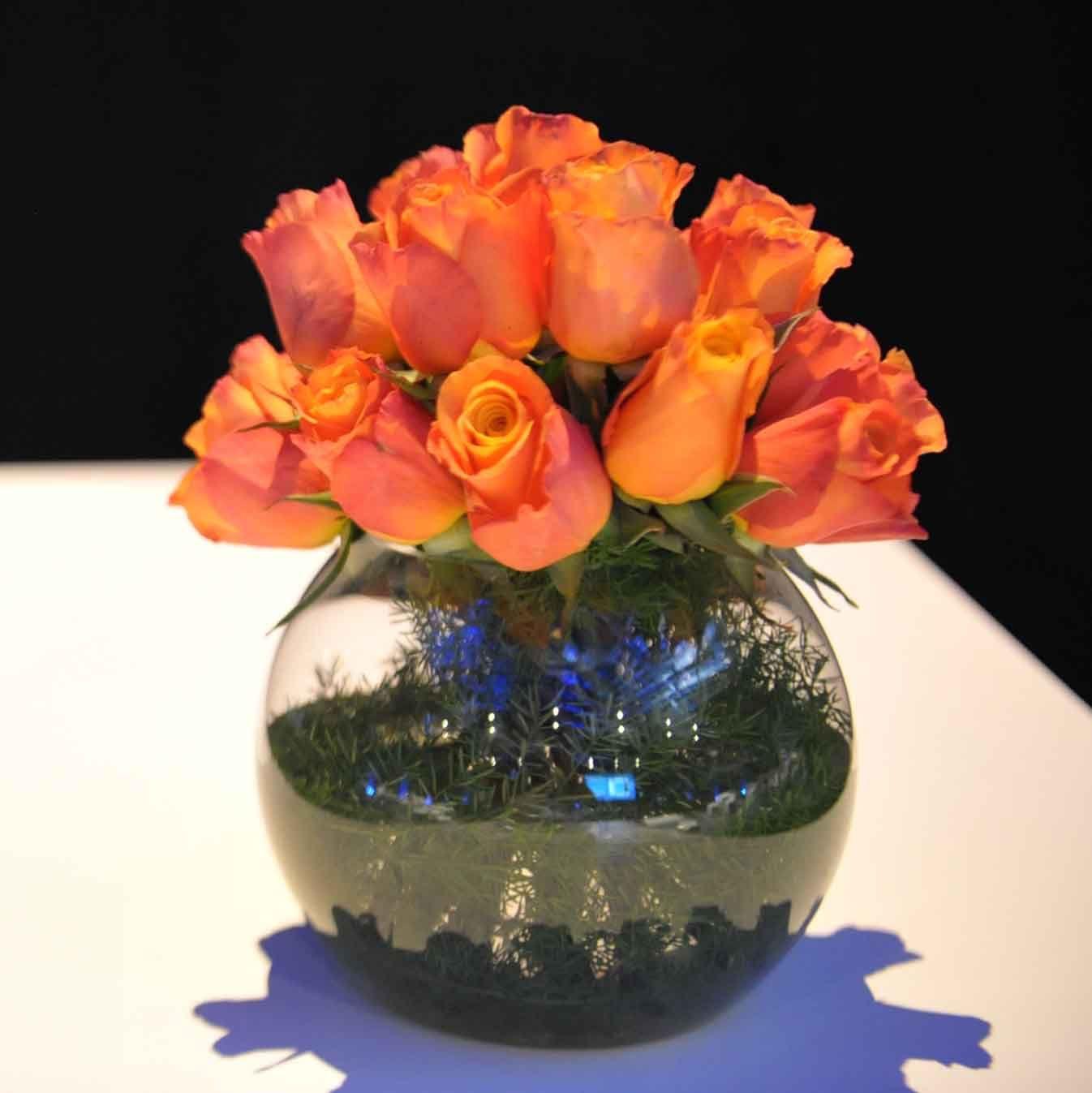 white fish bowl vase of 8 od orange rose foliage lined gold fish bowl orange flower in 8 od orange rose foliage lined gold fish bowl