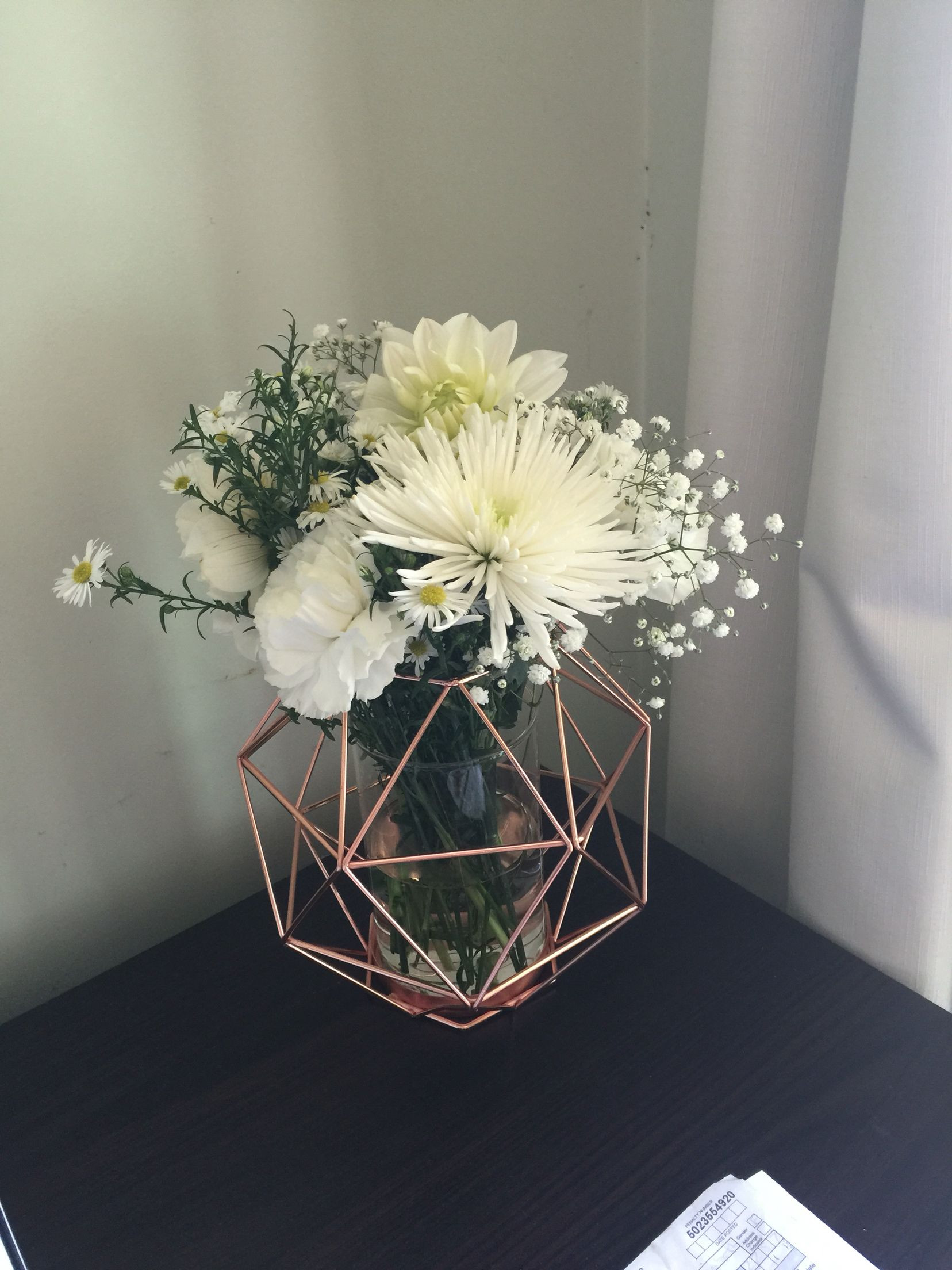white geometric vase of copper geometric candle holder from kmart used as a vase wedding inside copper geometric candle holder from kmart used as a vase