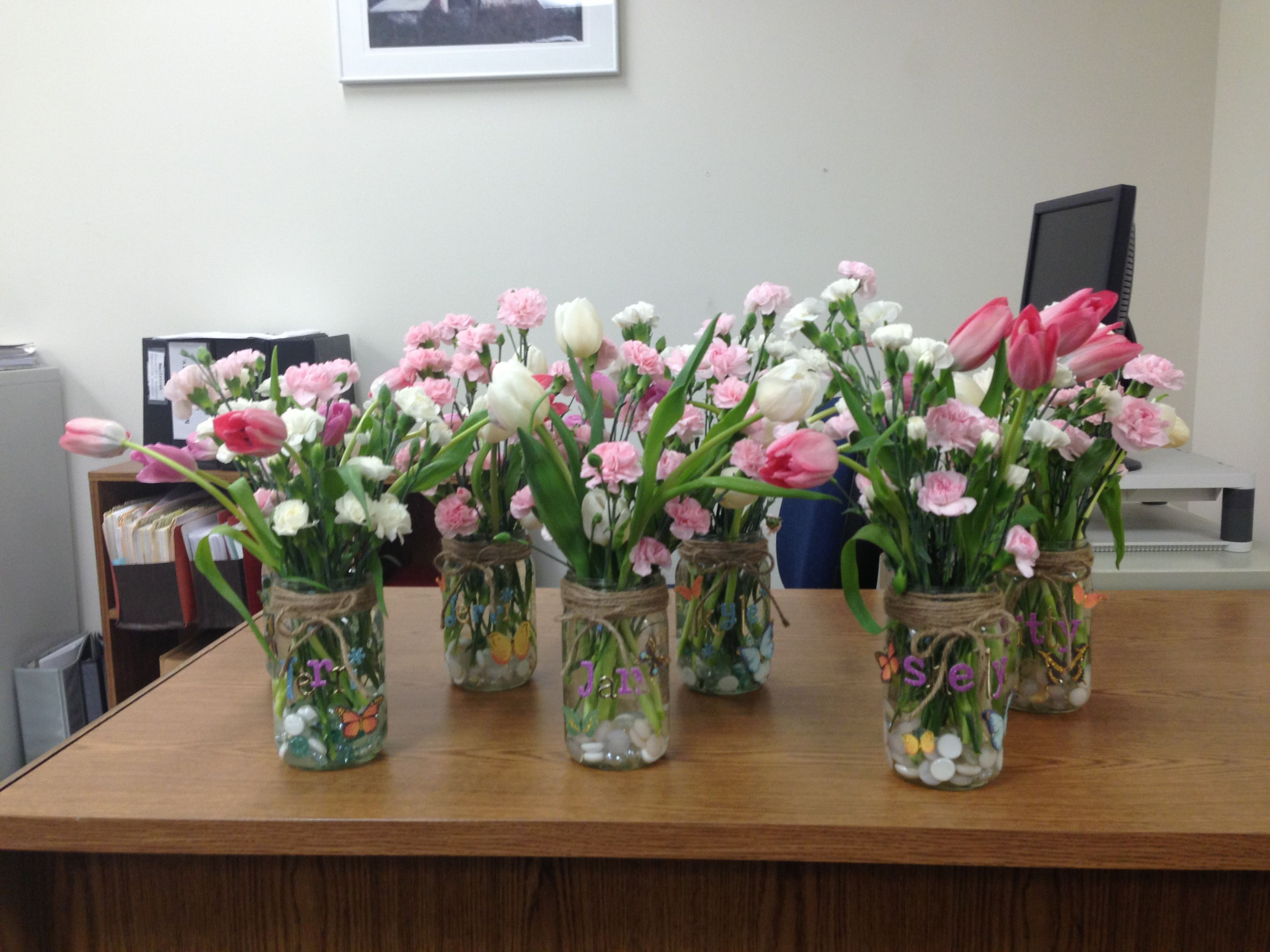 white mason jar vase of mason jar vases for admin day tulips and mini carnations by inside 9d3303cee5325d8f611a25cf23d3ca62