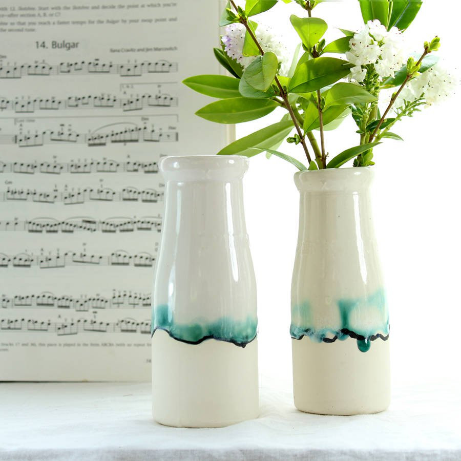 white milk jug vase of milk bottle vase with landscape painting by helen rebecca ceramics within milk bottle vase with landscape painting