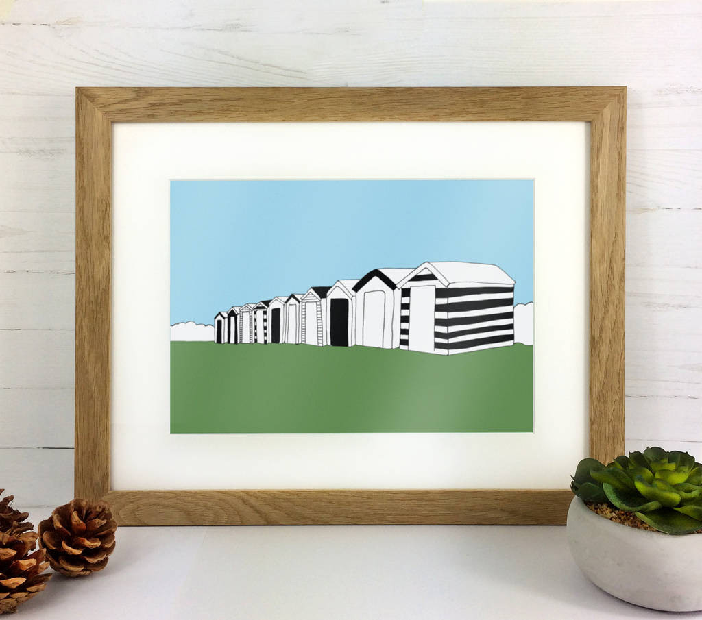 white sand vase filler of beach huts print by over over notonthehighstreet com in beach huts print