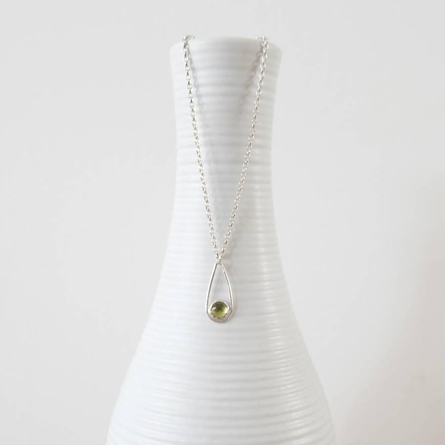 white teardrop vase of silver peridot teardrop necklace by tanya garfield jewellery regarding silver peridot teardrop necklace
