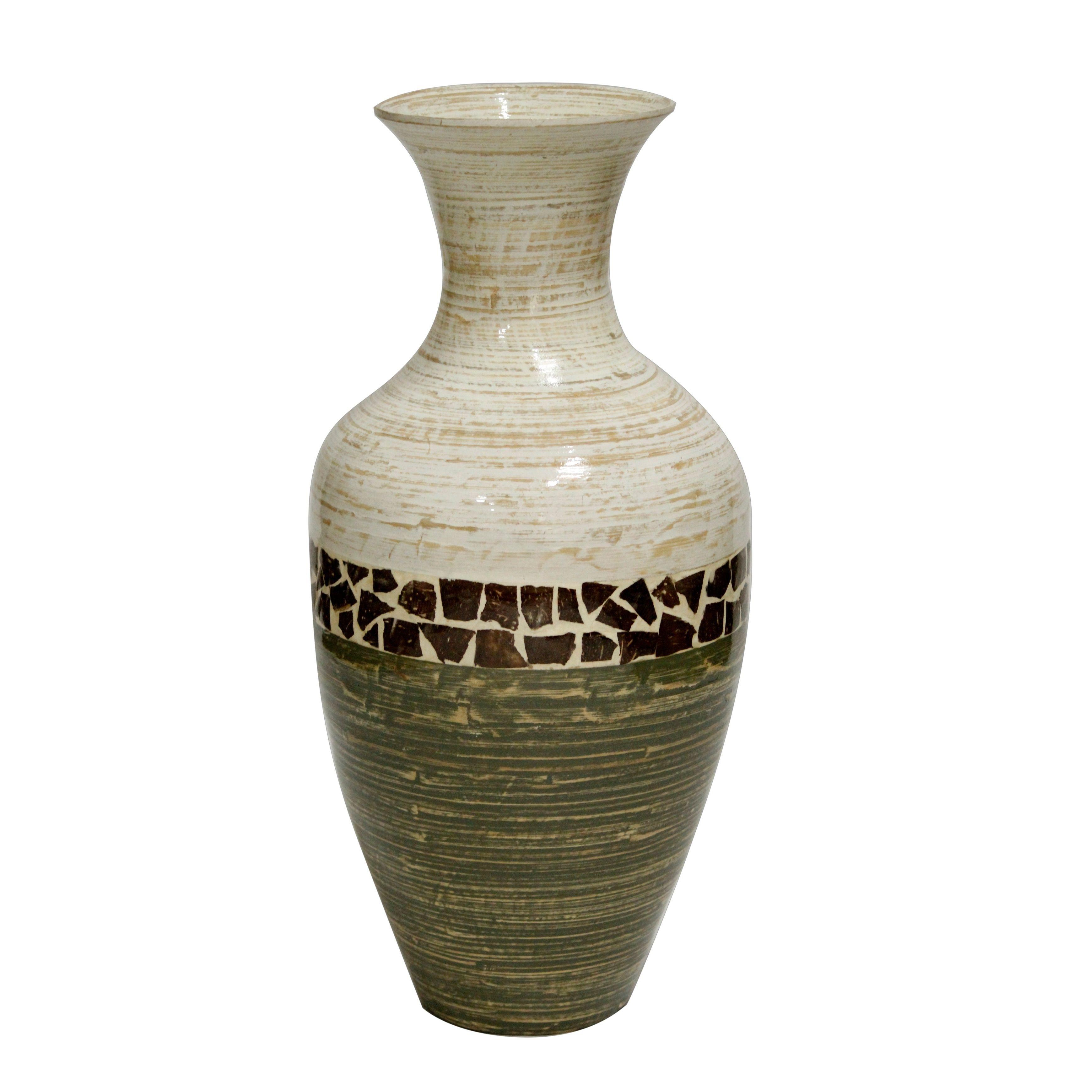 white terracotta vase of terra cotta floor vase throughout terry 25 spun bamboo floor vase white and green w coconut shell