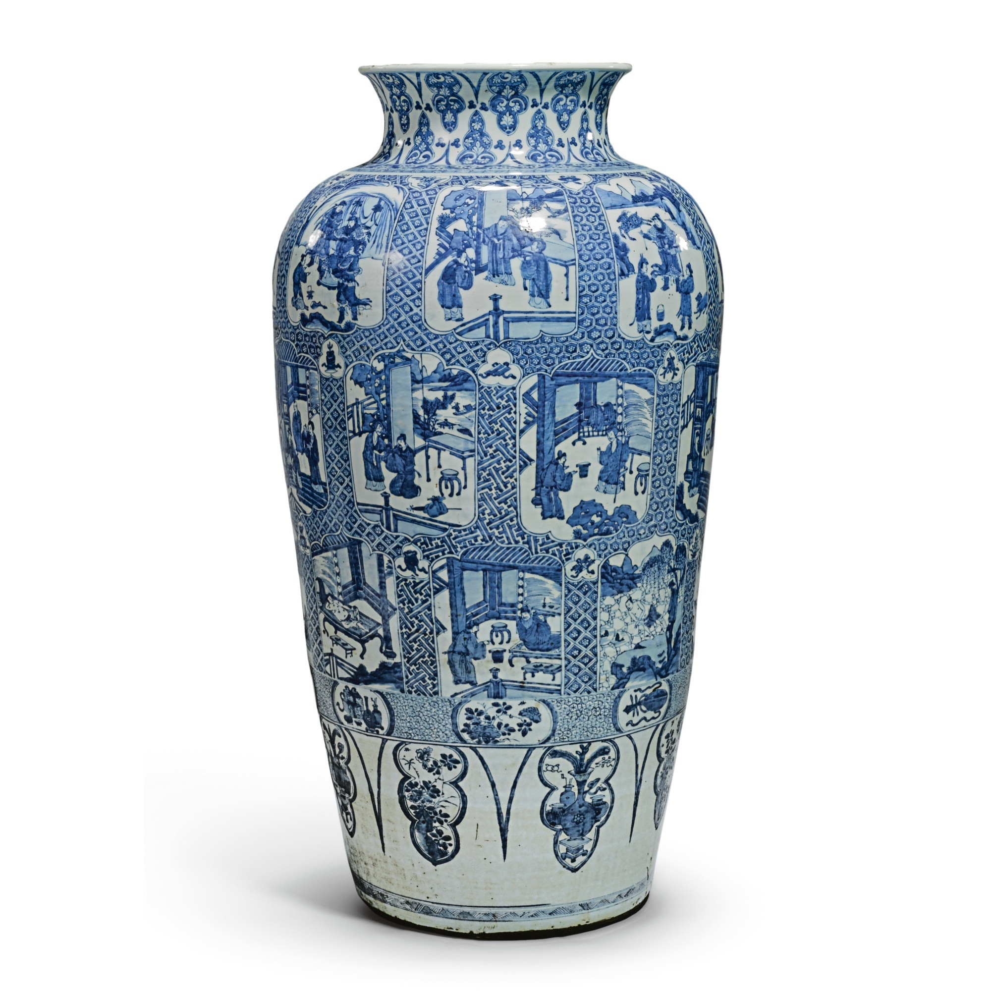 white urn vase of a large chinese kangxi blue and white soldier vase painted with intended for a large chinese kangxi blue and white soldier vase painted with the twenty