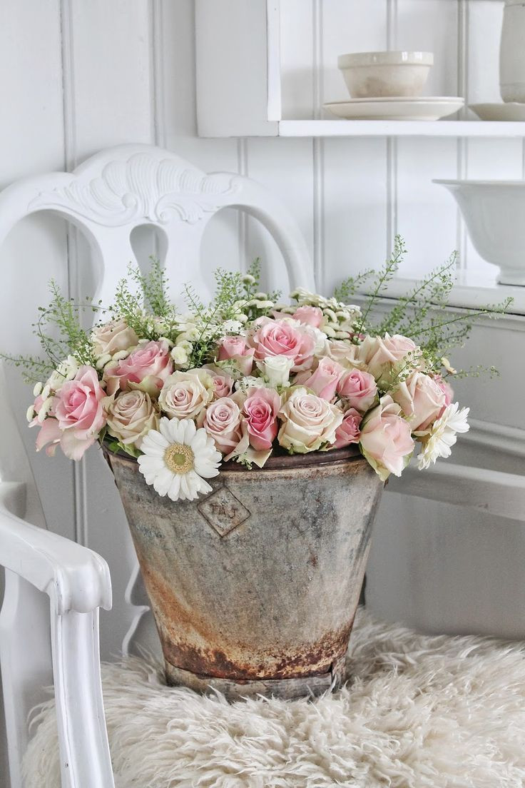 white watering can vase of 252 best watering cans buckets and baths rustique romance images on with regard to vibeke design rose arrangement in rustic metal bucket on a lovely painted white chair