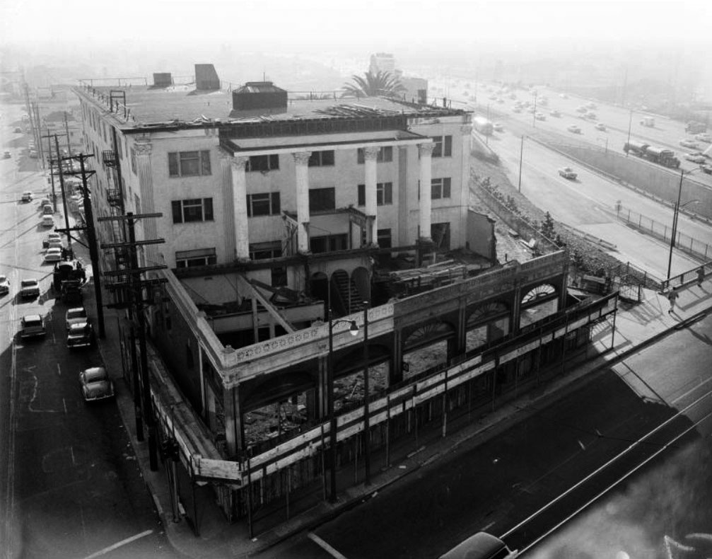 wholesale glass vases in downtown los angeles of water and power associates regarding 1957 view showing the demolition of the westmoore hotel at 1000 w seventh street francisco street is on the left the harbor freeway built in 1953