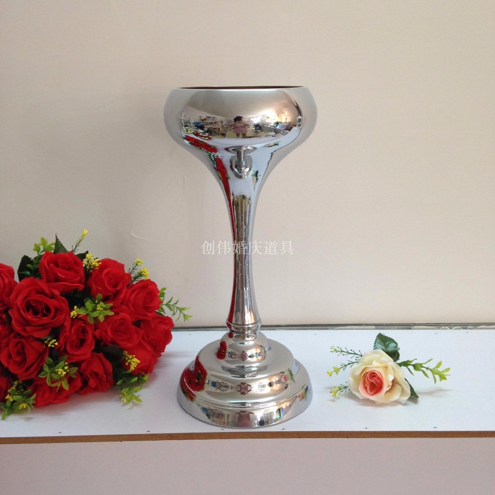 Wide Glass Vase Of 41cm Tall Silver Wedding Flower Vase Flower Stand Table Centerpiece Pertaining to 41cm Tall Silver Wedding Flower Vase Flower Stand Table Centerpiece 10pcs Lot In Vases From Home Garden On Aliexpress Com Alibaba Group