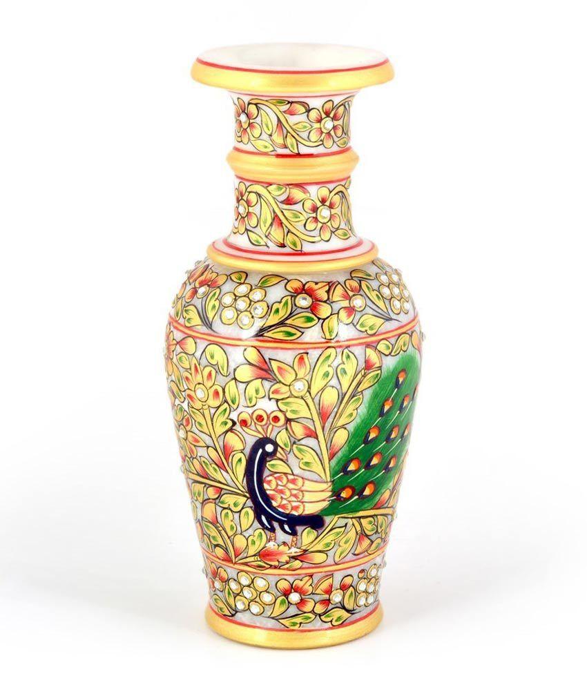 Wide Glass Vase Of Jaipur Handicraft Jaipuri Golden Minakari Peacock Design Flower Vase within Jaipur Handicraft Jaipuri Golden Minakari Sdl481254852 1 29d2f