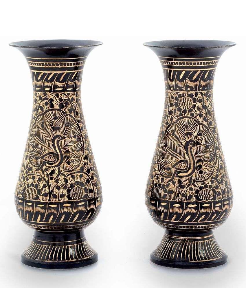Wide Glass Vase Of Shree Sai Handicraft Brown Brass Combo Of Flower Vase Maharaja Table Intended for Shree Sai Handicraft Brown Brass Combo Of Flower Vase Maharaja Table 3 Cannons