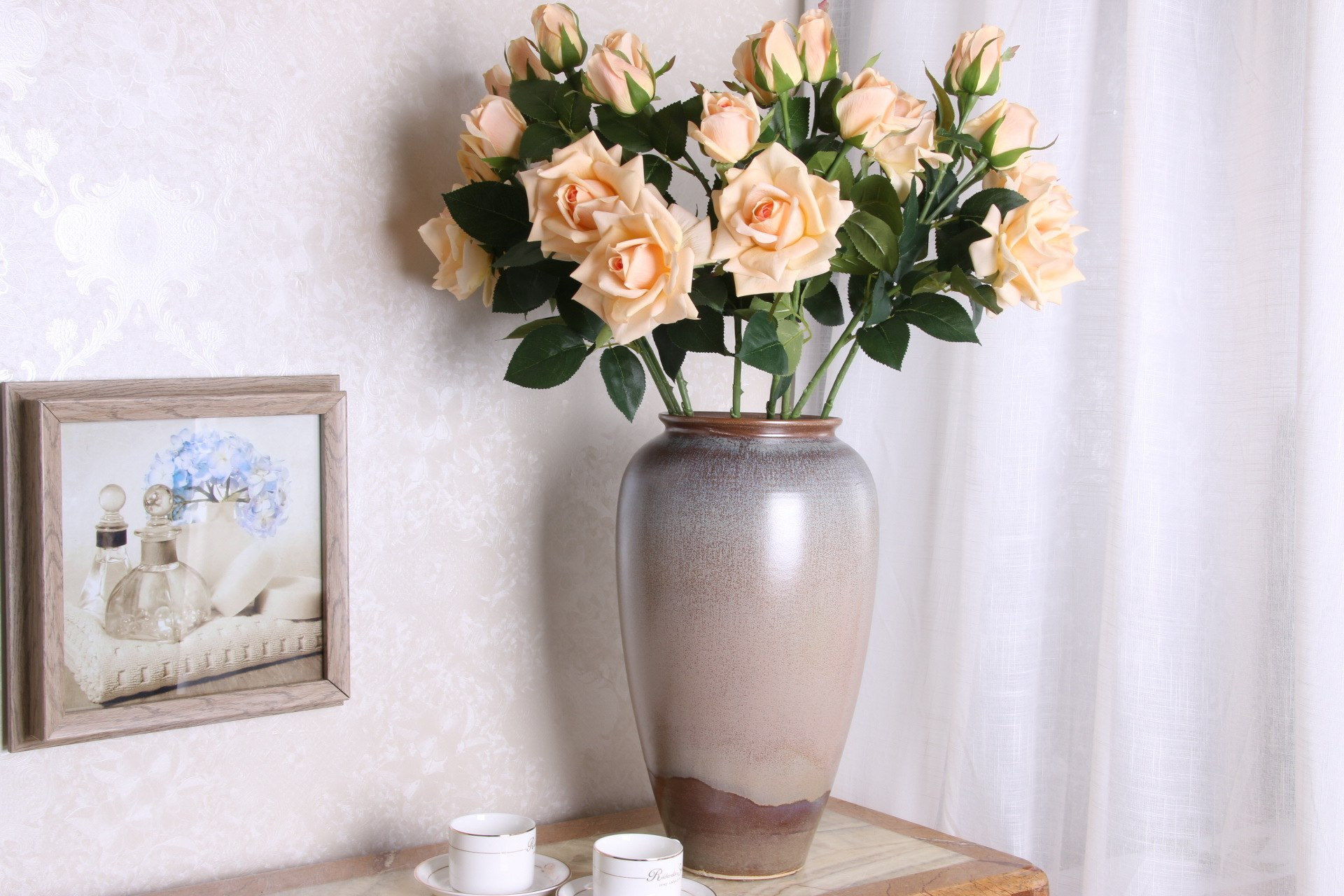 window sill vases of 3pcs moisturizing roses 3 heads silk flower h q wedding bouquet for other descriptionbecause every branch is too long we will bend them for package when you receive the product straightened it