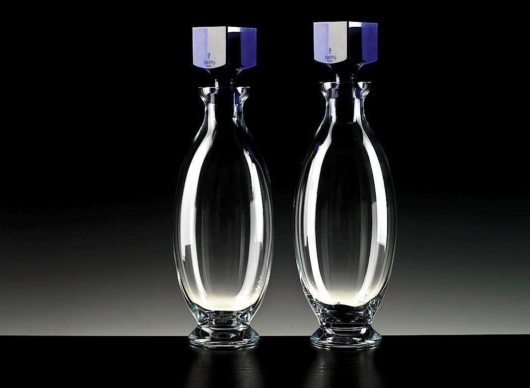 wine bottle vases for sale of oskar kogoj nature design glass within 47 bottle with a rectangular blue cork