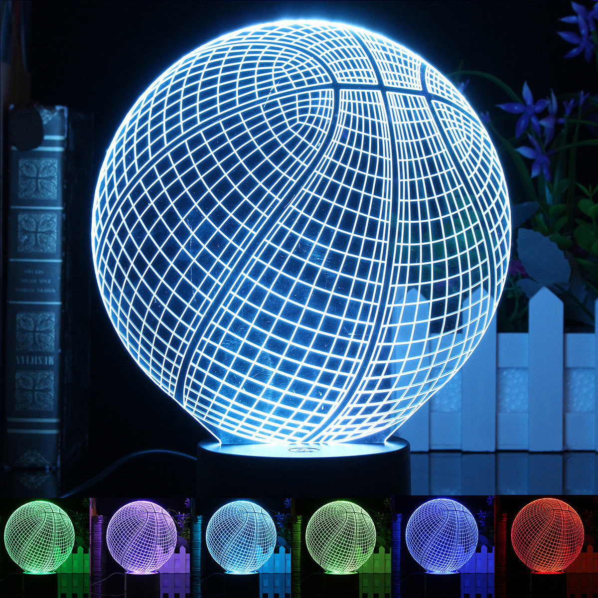 World Globe Vase Of 3d Illusion Led Basketball Night Light 7 Color Changing Desk Table Inside 3d Illusion Led Basketball Night Light 7 Color Changing Desk Table Lamp Birthday Xmas Party Gift