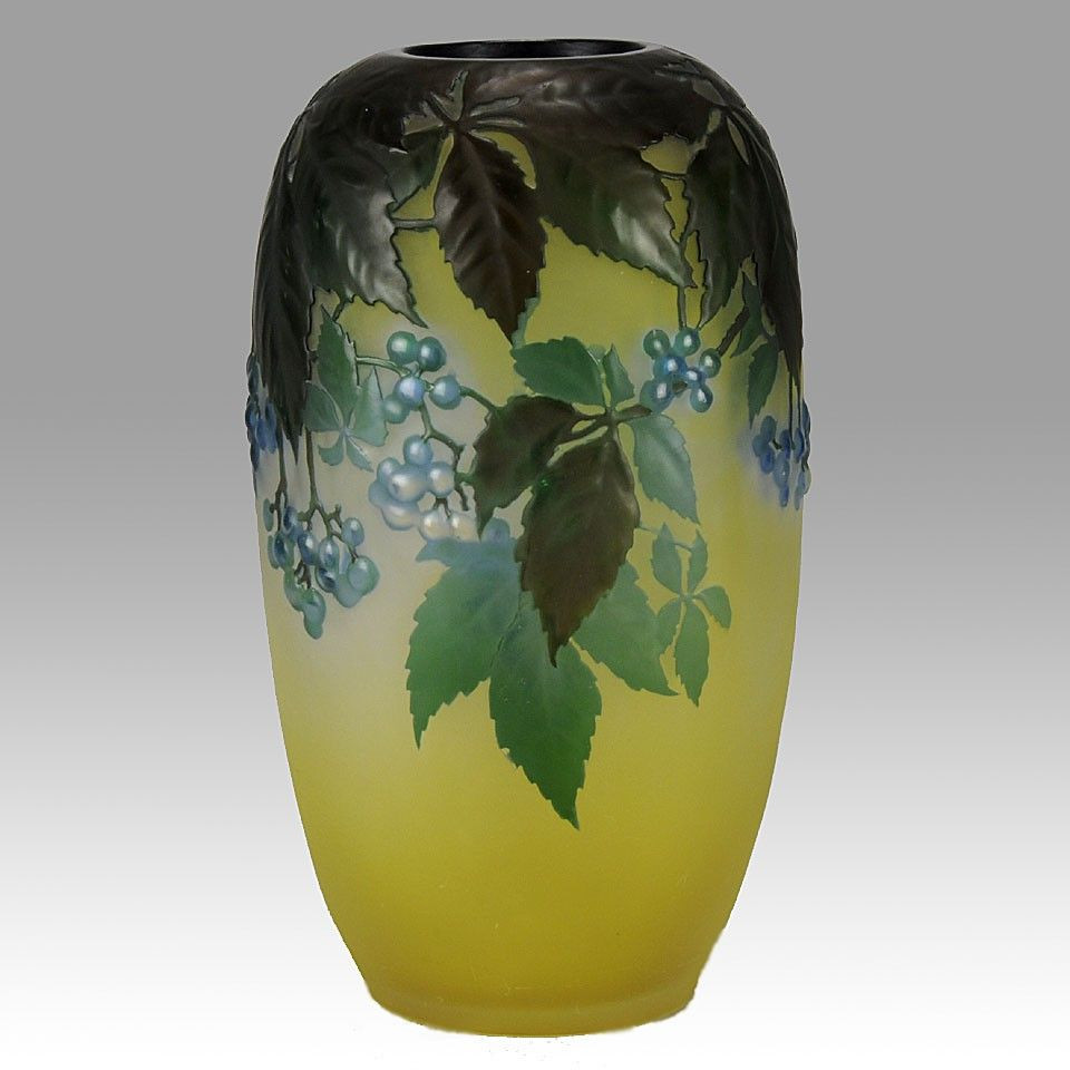 Yellow Ceramic Vase Of Art Nouveau Emile Galla Cameo Blueberry souffle Vase Emile Galle within Art Nouveau Emile Galla Cameo Blueberry souffle Vase