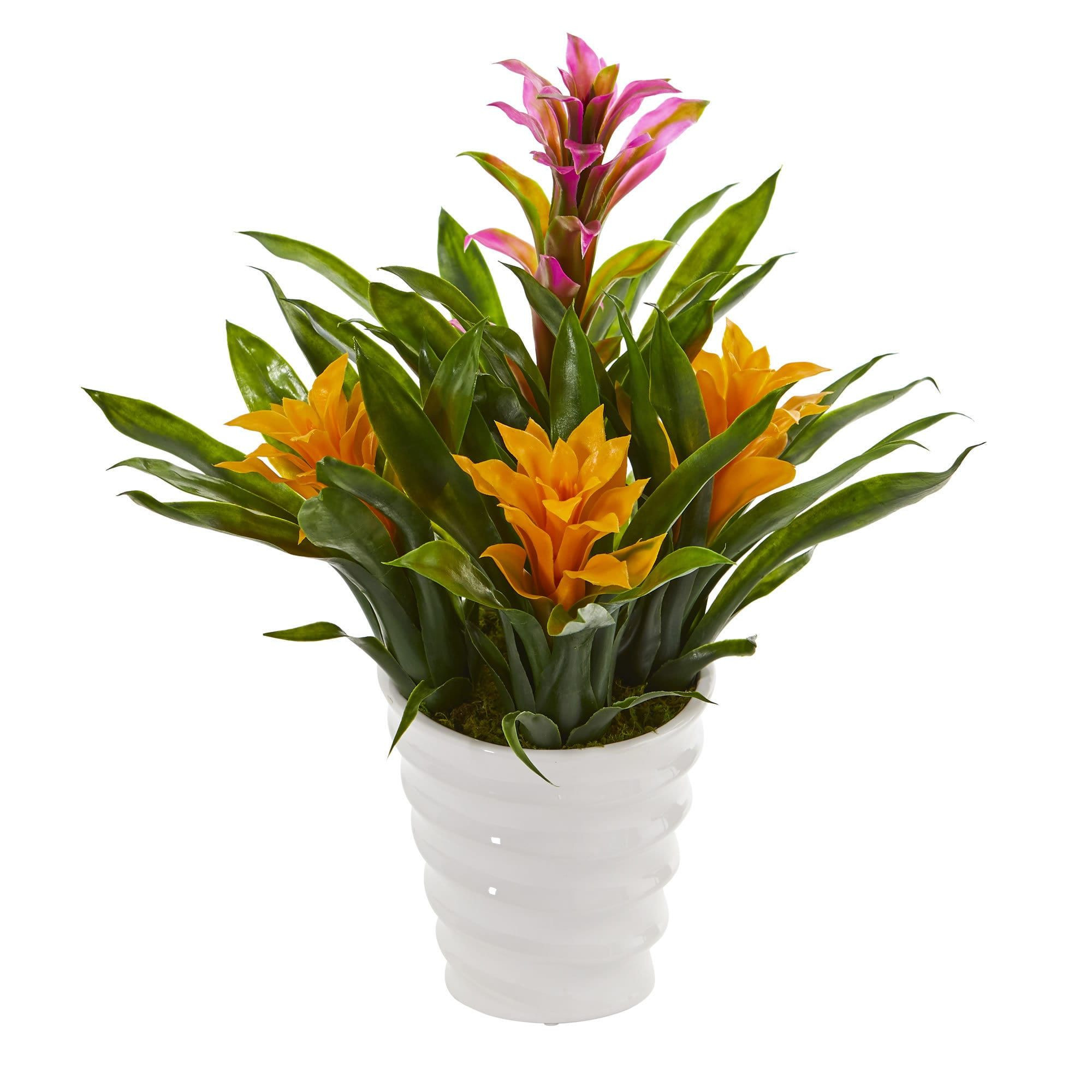 Yellow Flower Vase Of Nearly Natural Bromeliad Artificial Plant In White Vase Purple Inside Nearly Natural Bromeliad Artificial Plant In White Vase Purple Yellow