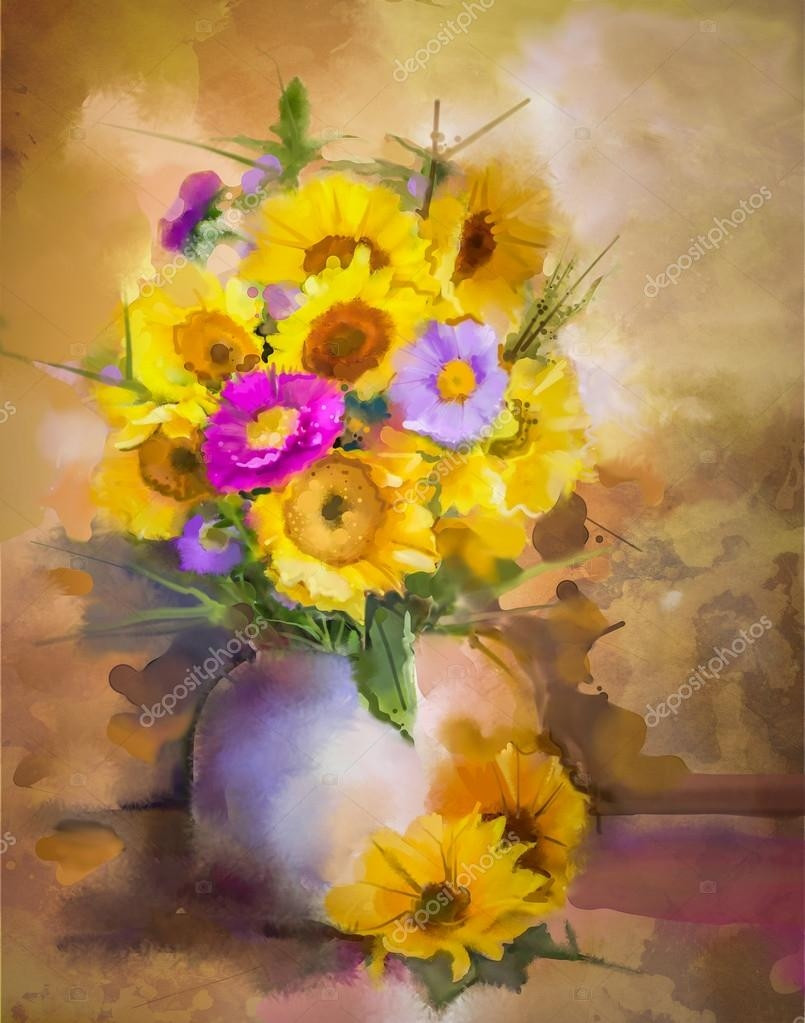Yellow Flowers In Vase Painting Of 25 Luxury Flower Vase Painting Watercolor Flower Decoration Ideas Regarding Flower Vase Painting Watercolor Luxury Watercolor Painting Flowers Hand Paint Bouquet Still Life Of Yellow