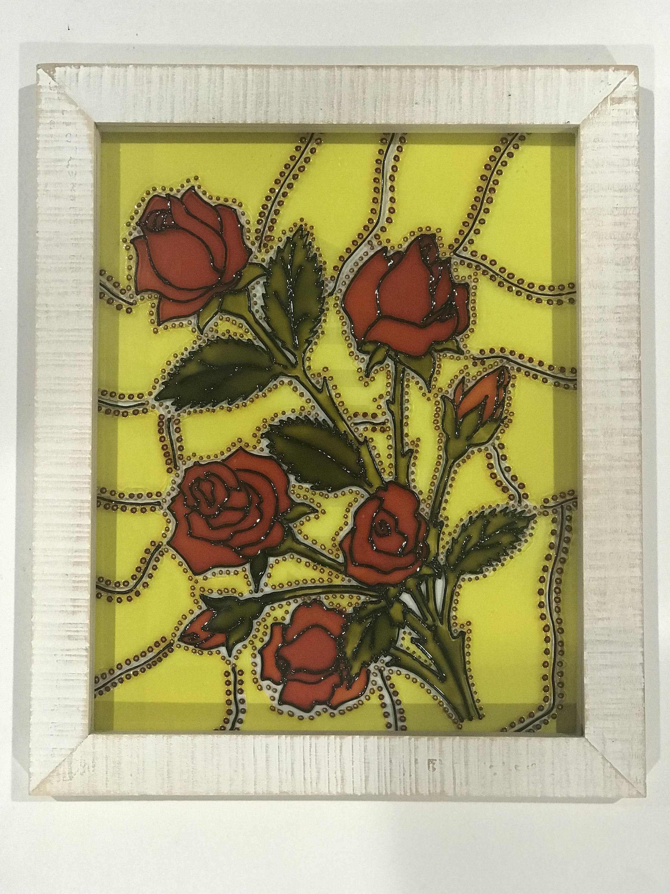 """yellow flowers in vase painting of roses flowers spring sun catcher glass painting fragrance etsy regarding dŸ""""Žzoom"""