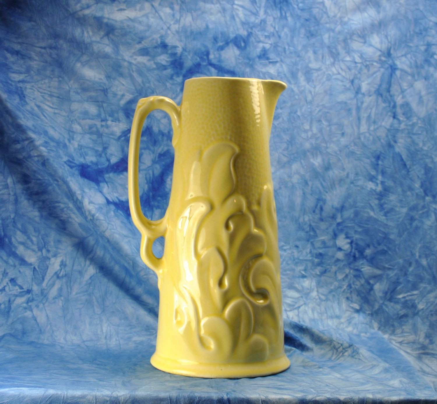 yellow pottery vase of vintage sterling pottery company water pitcher acanthus pattern from inside vintage sterling pottery company water pitcher acanthus pattern from the 1950s made in england china porcelain vase ceramic
