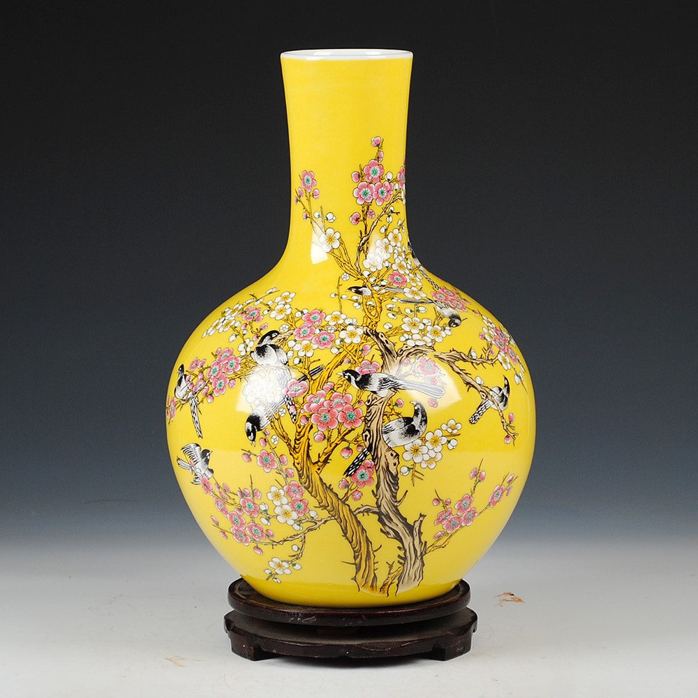 yellow vases and bowls of jingdezhen ceramics antique vase chinese style living room in jingdezhen ceramics antique vase chinese style living room furnishing articles gifts home decoration arts and crafts in vases from home garden on