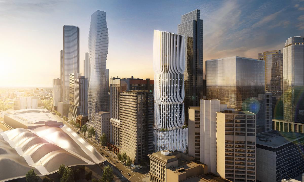 zaha hadid vase of mandarin oriental will manage hotel in zaha hadids mixed use intended for the 185m tower will be formed of four stacked vase inspired volumes with a sculptural mesh like faa§ade visualarch